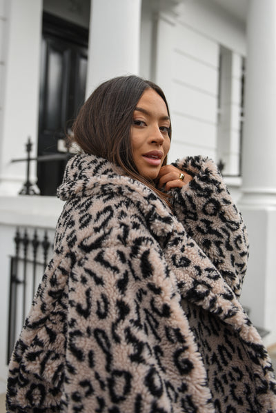 Leopard print Teddy Bear Coat