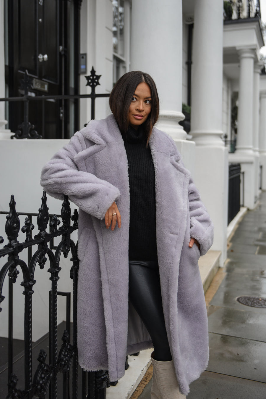 Lilac Grey Teddy Bear Coat