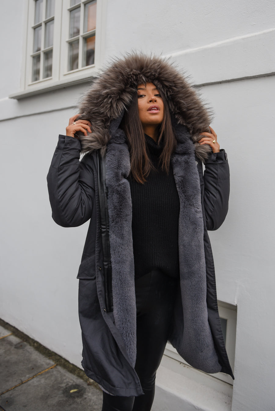 Faux Grey on Grey Darling Parka