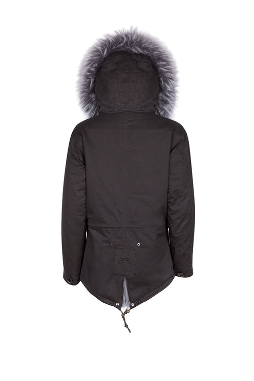 Black on Grey Grace Parka (Back) Jane and Tash