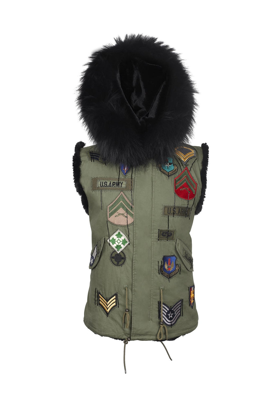 Faux Green Army Badge Gilet