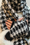 Houndstooth Black Wrist Warmers