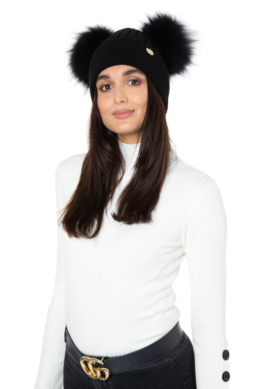 Black Faux Fur Double Pom Pom Hat