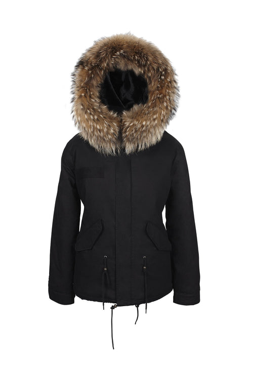Black on Black Natural Grace Parka (Front) Jane and Tash
