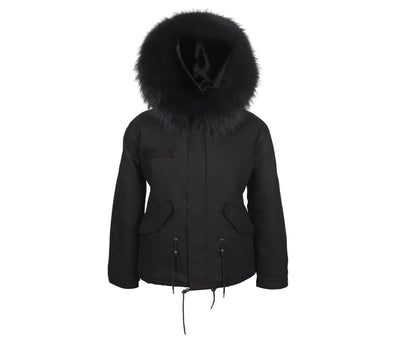 Faux Black on Black Grace Parka