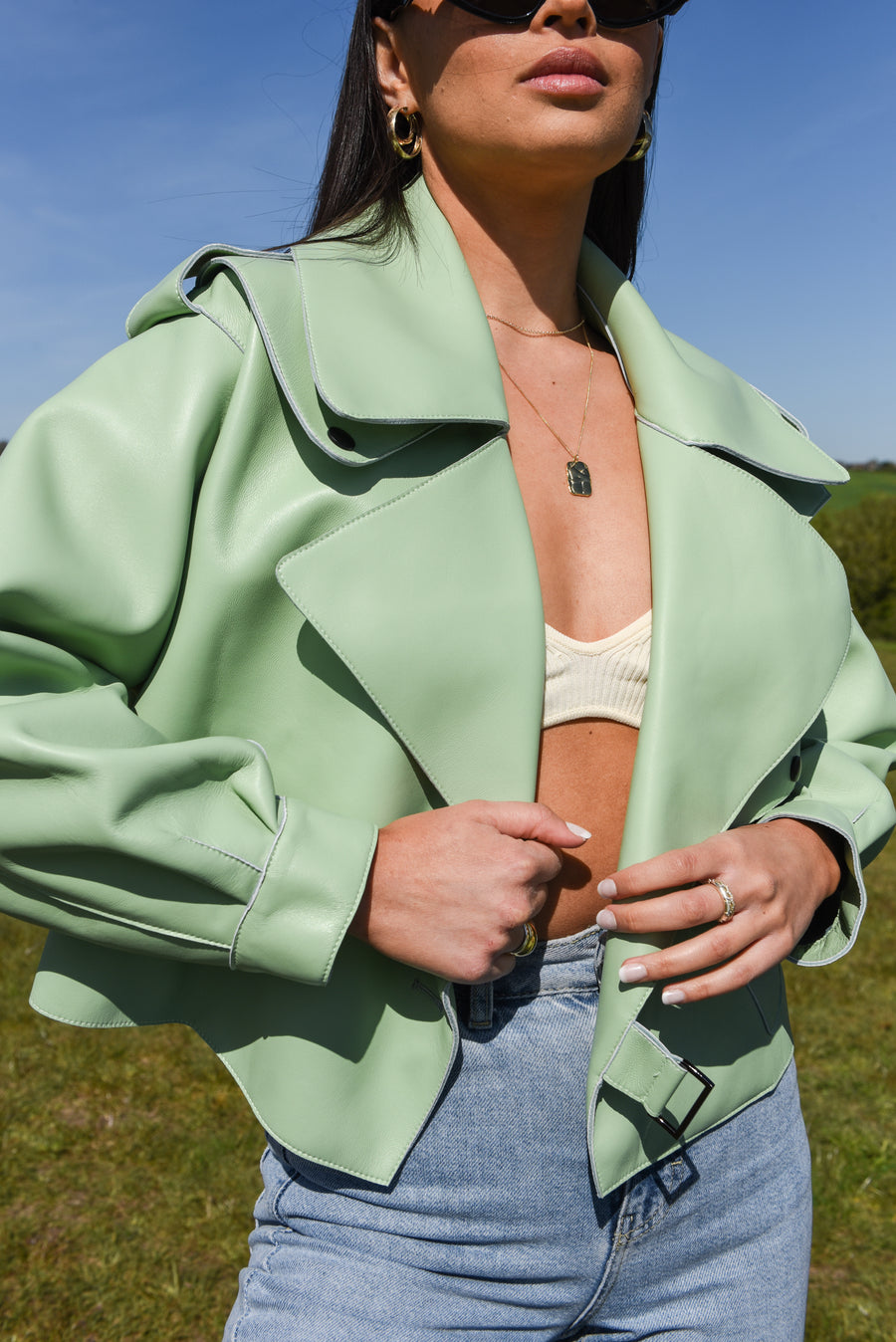 Mint Green Oversized Leather Jacket