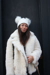 White Faux Double Pom Pom Hat