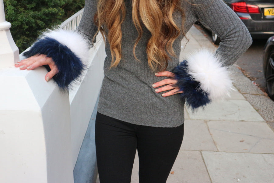 Blue & White Fur cuffs