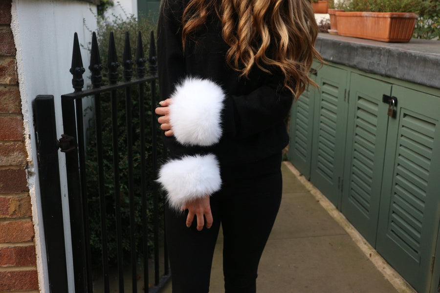 White Fur Cuffs