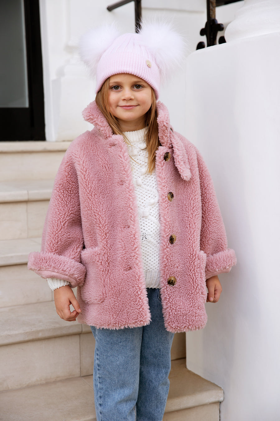 Kids Faux Pink Double Pom hat