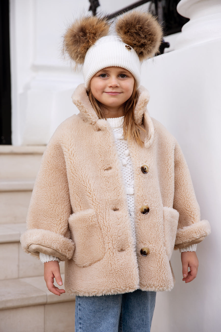 Kids Faux Natural Pom double Pom hat