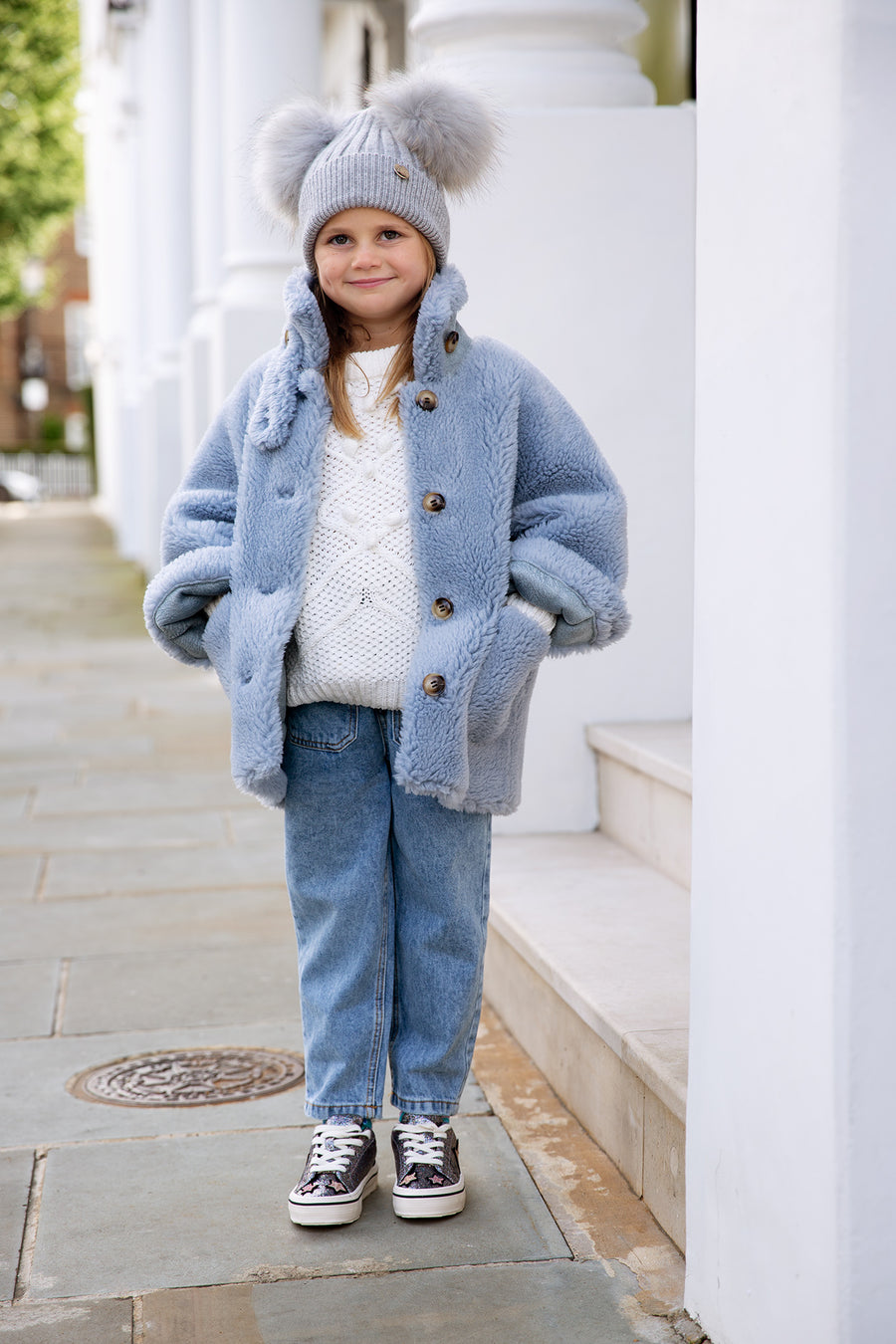 Kids Faux Grey Double Pom hat