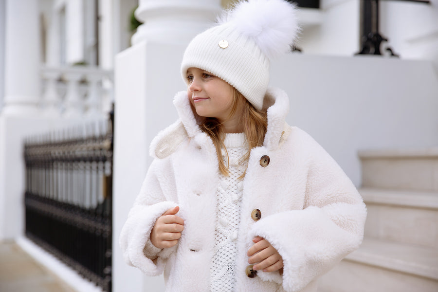 Kids Faux White Double Pom hat
