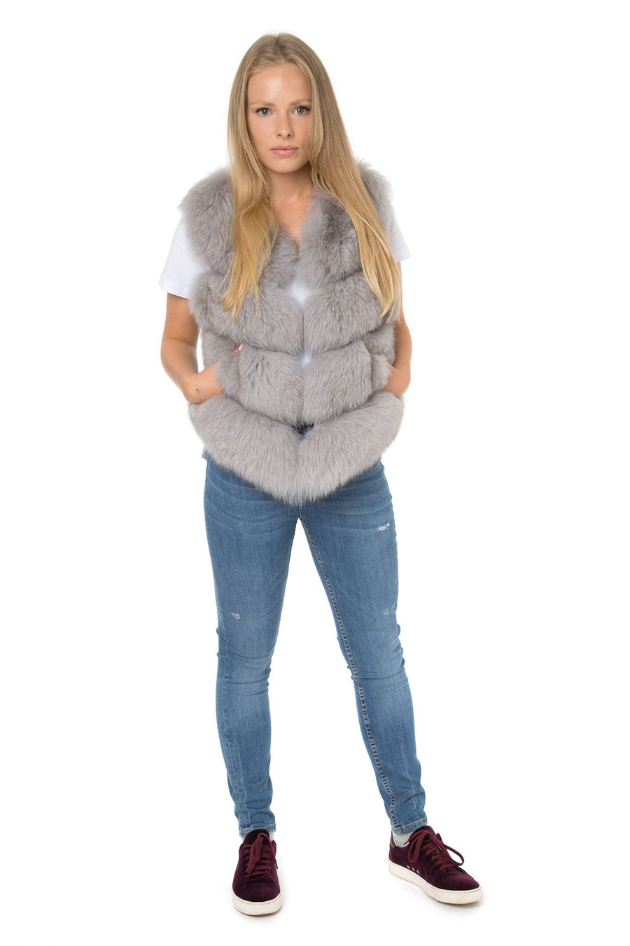 Soft Grey Fur Gilet