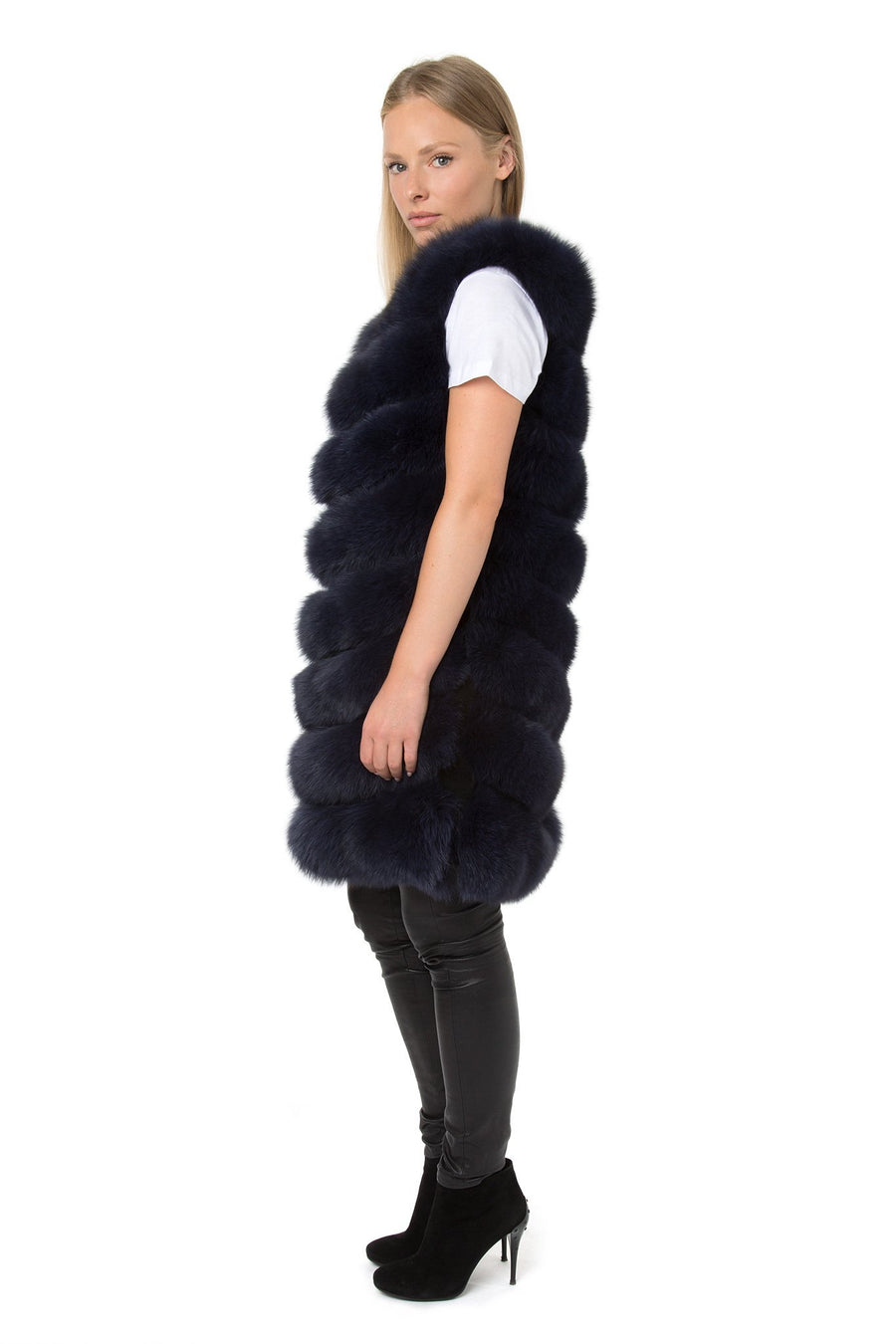 Navy Long Fur Gilet