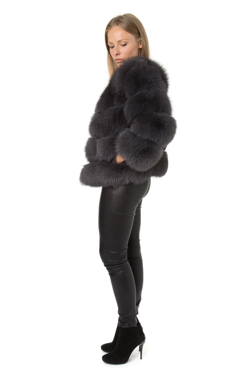 Charcoal Grey Fur Coat