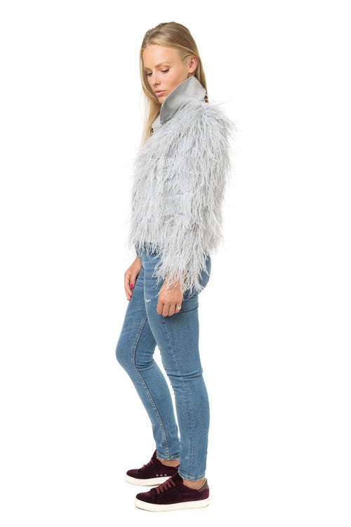Luxury Grey Feather Jacket