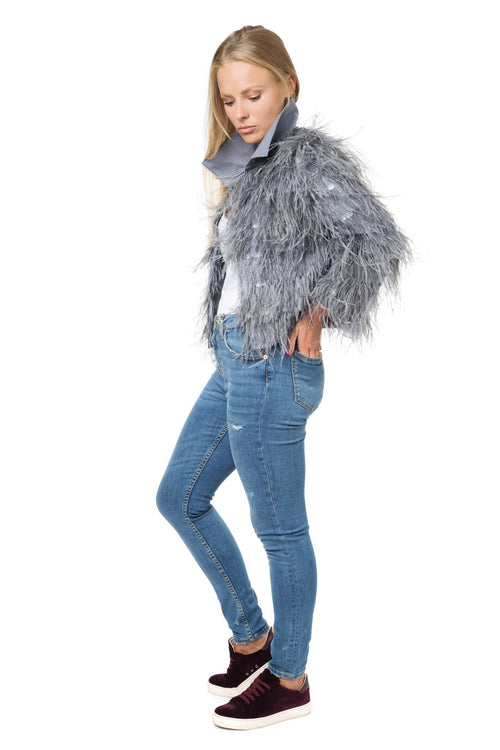Luxury Stone Grey Feather Jacket