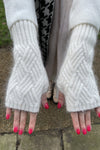 White Knit Wrist Warmers