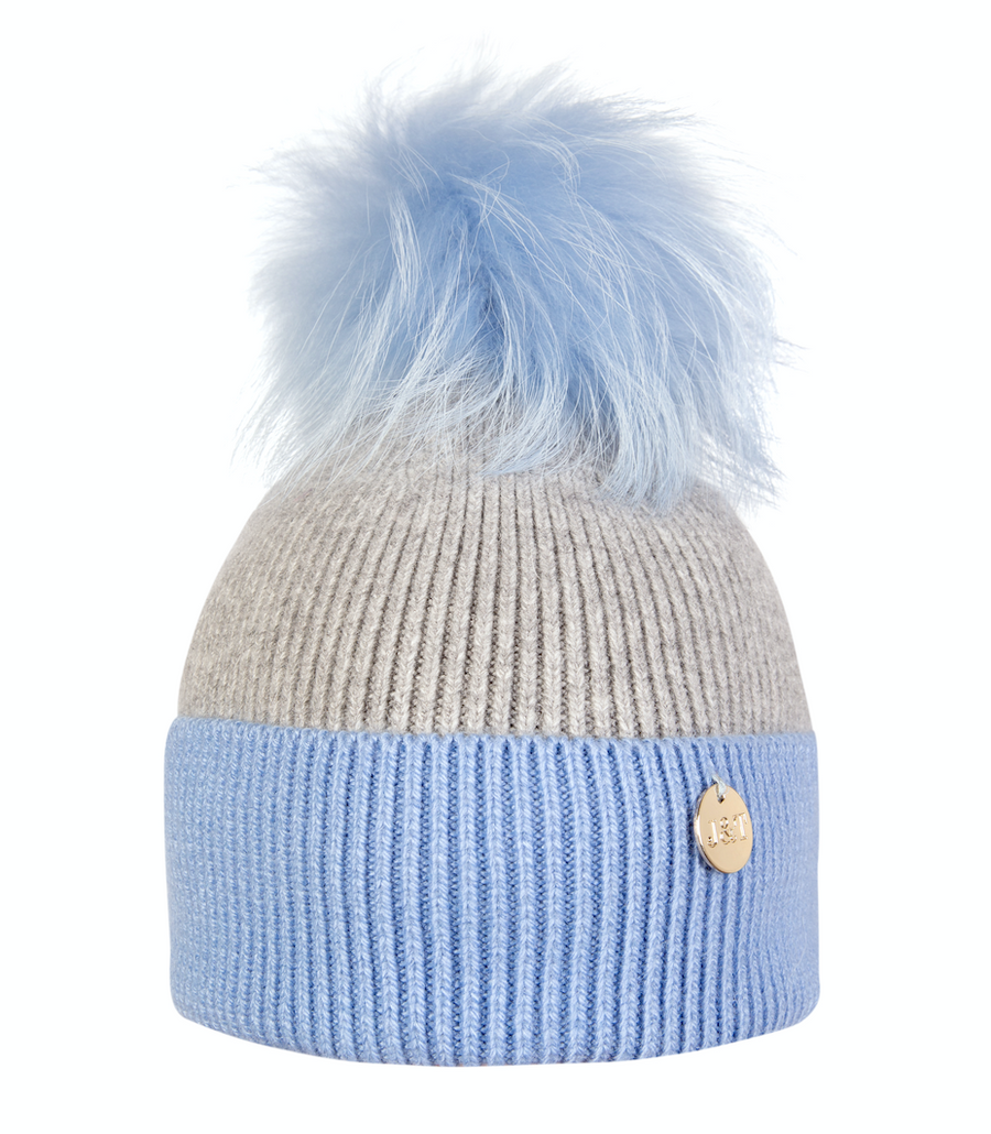 Grey Blue Pom Pom hat