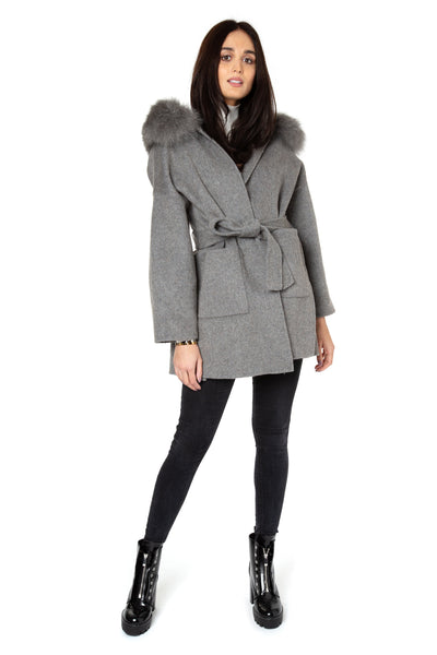 Grey Cashmere Wrap Jacket