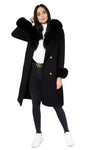 Black Cashmere Fur-trimmed Coat