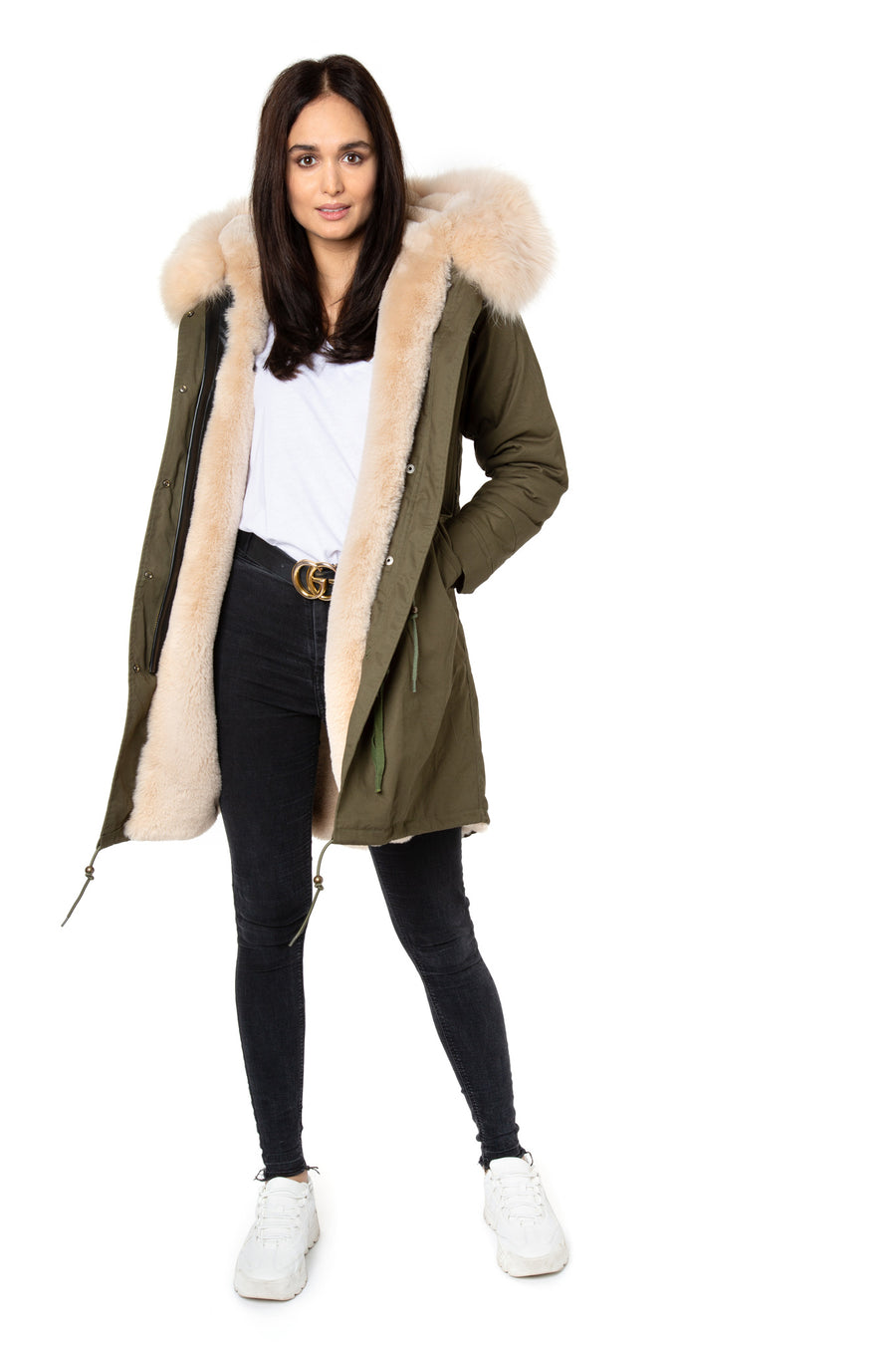 Faux Dark Green Apricot Darling Parka