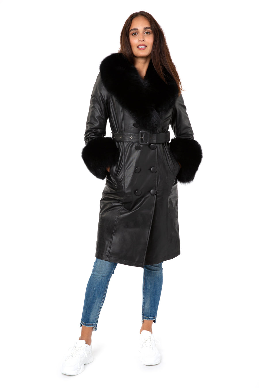 Faux Fur-trimmed Leather Trench Coat