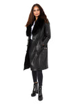 Fur-trimmed Leather Trench Coat