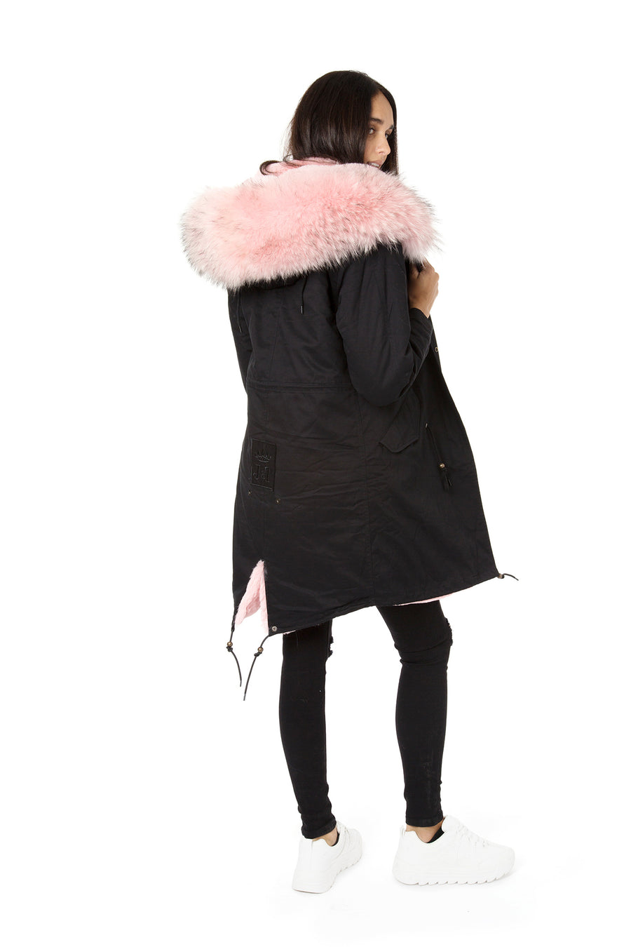 Faux Black on Baby Pink Darling Parka