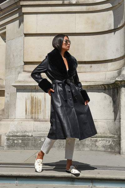Black Faux Fur-trimmed Leather Trench Coat