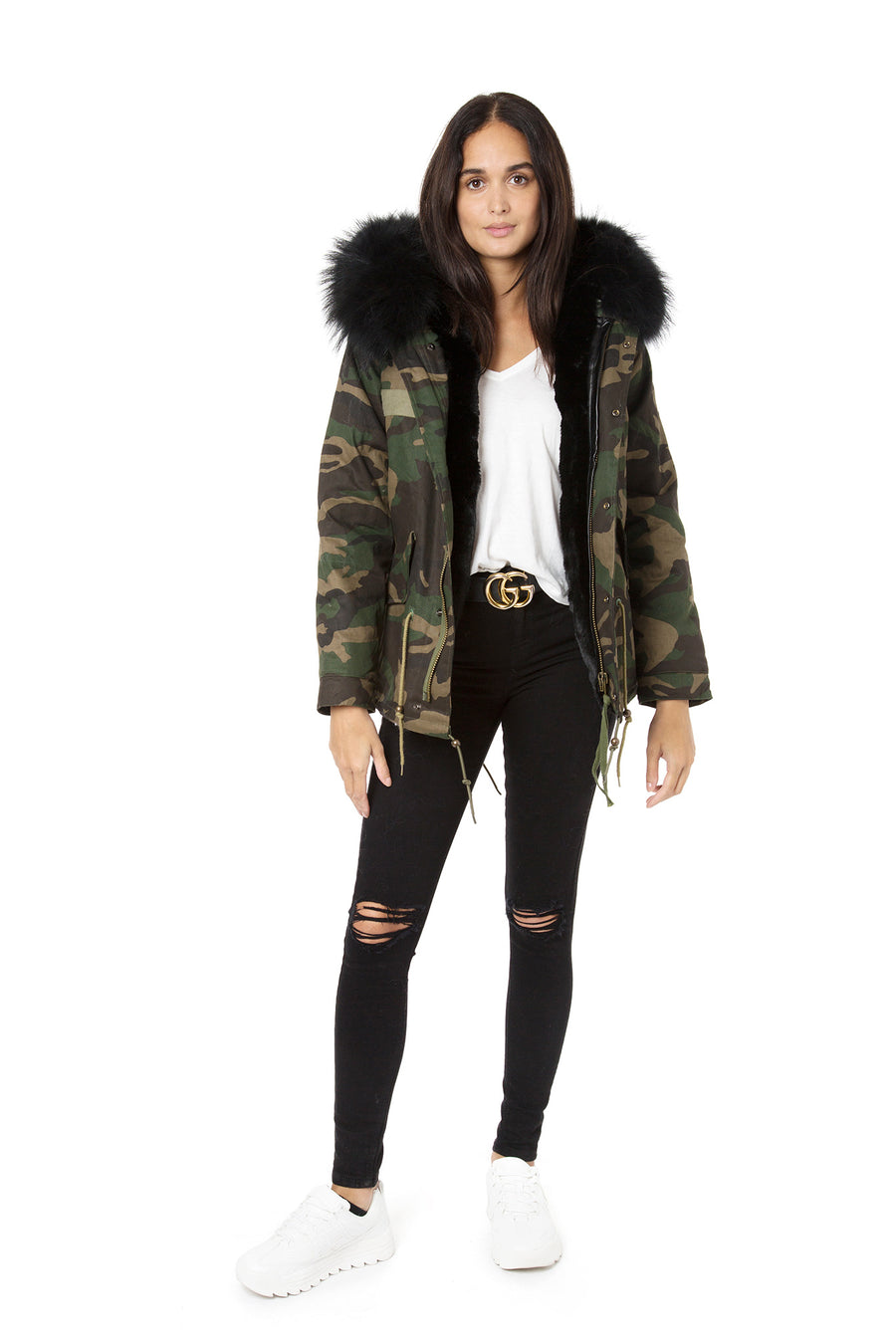 Faux Camo Black Grace Parka