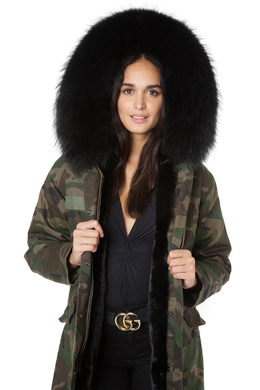 Faux Camo Black Darling Parka