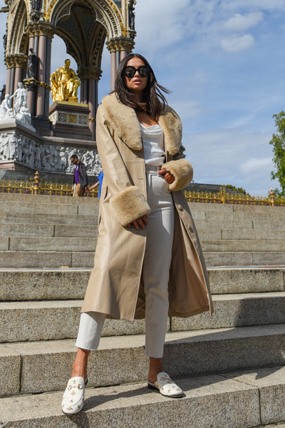 Cream Faux Fur-trimmed Leather Trench Coat