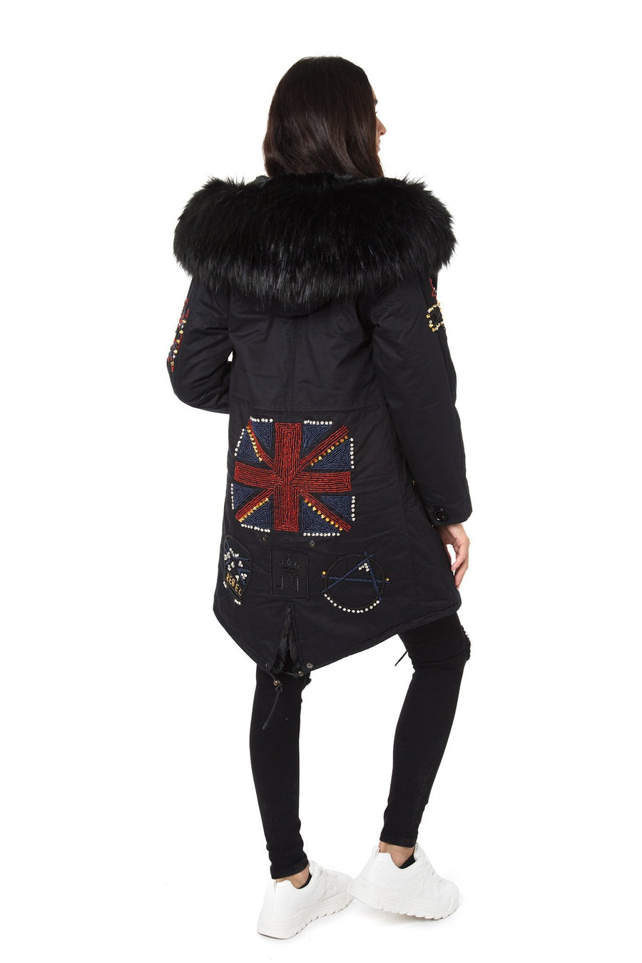 Faux Black Darling Bead Parka
