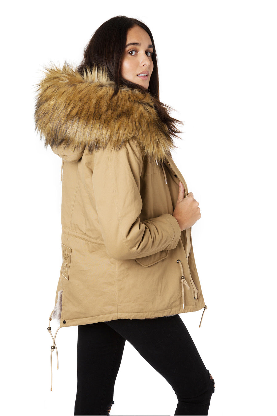 Faux Natural Camel Grace Parka