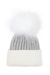 Kids Faux Grey White Pom Pom hat