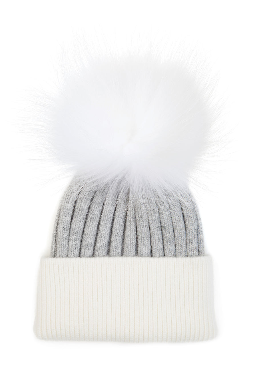 Kids Grey White Pom Pom hat