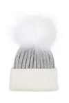 Baby Grey White Faux Fur Pom Pom hat
