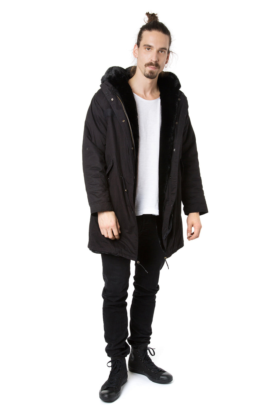 Faux Men's Black on Black Darling Parka