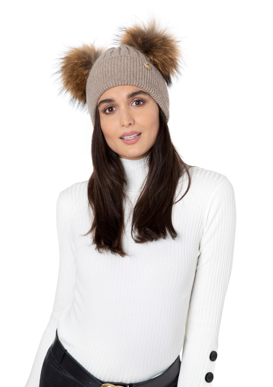 Mocha Faux Double Pom Pom Hat