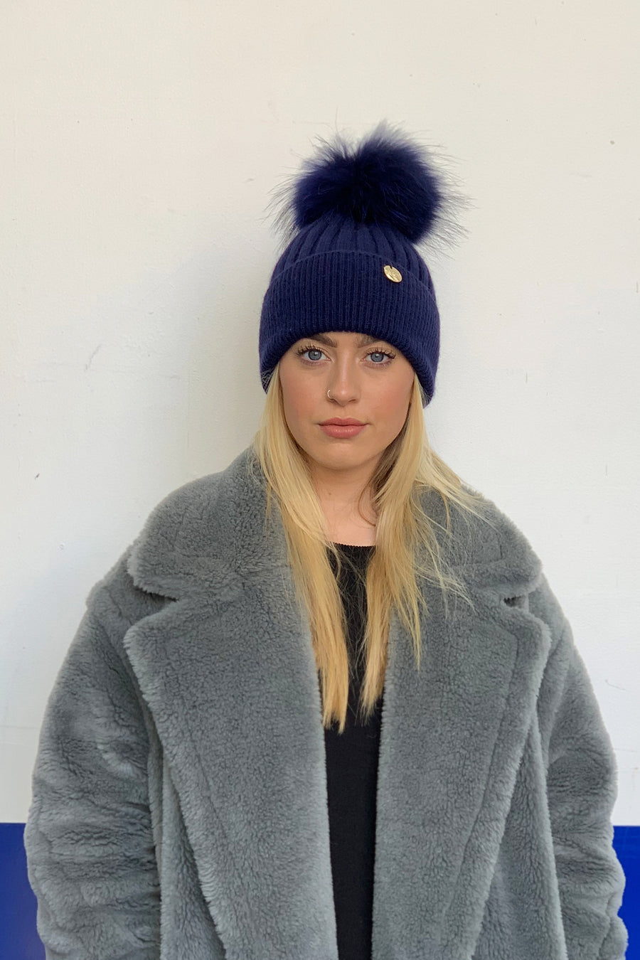 Sale Faux Navy Pom Pom hat