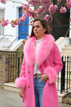Pink Cashmere Fur-trimmed Coat