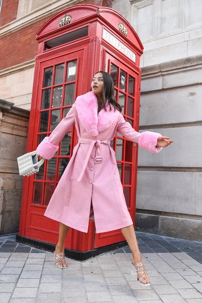 Pink Faux Fur-trimmed Leather Trench Coat