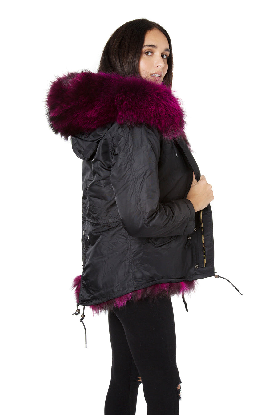 Shiny Black on Plum Grace Parka