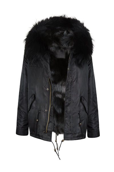 Faux Shiny Black Grace Parka