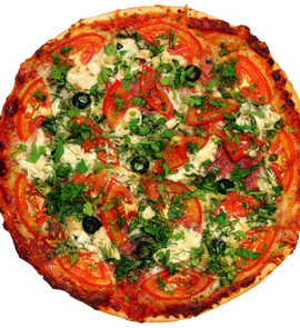 Pizza With Tomatoes And Greens
