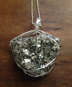 Large Pyrite Sterling Silver Pendant on Chain