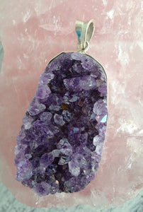 Natural Amethyst Druzy  925 Sterling Silver Pendant A004