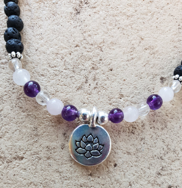 Amethyst, Rose & Clear Quartz Crystal Gemstone & Lava Aroma Anklet - Lotus Charm